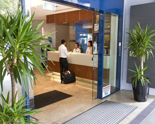 The reception area of Wyndham Sydney Suites resort.