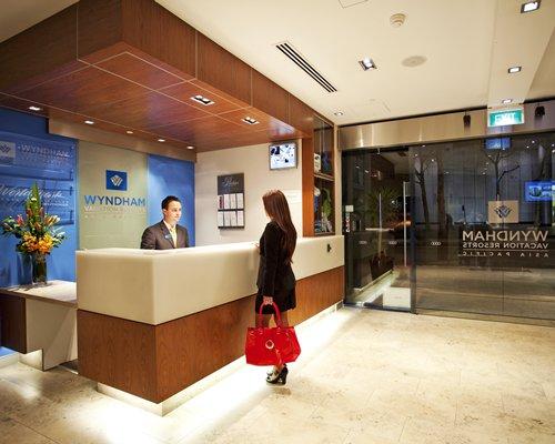 Reception area at Wyndham Sydney Suites.
