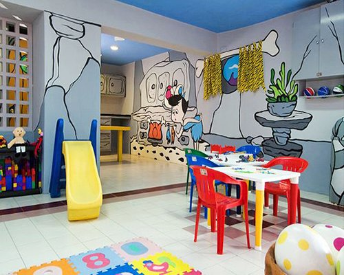 A well equipped indoor playscape.