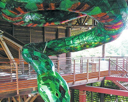 A deck alongside a snake themed decor.