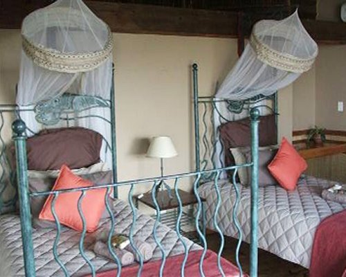 A well furnished bedroom with two twin beds with mosquito nets.