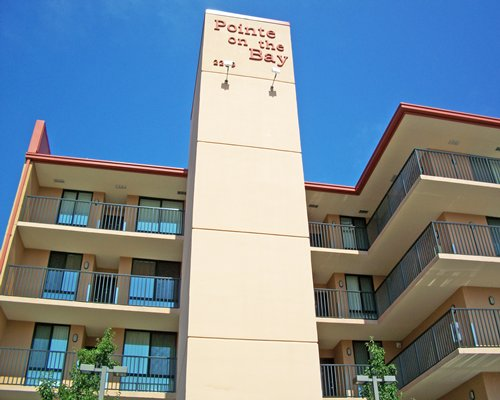 An exterior view of Pointe On The Bay resort.