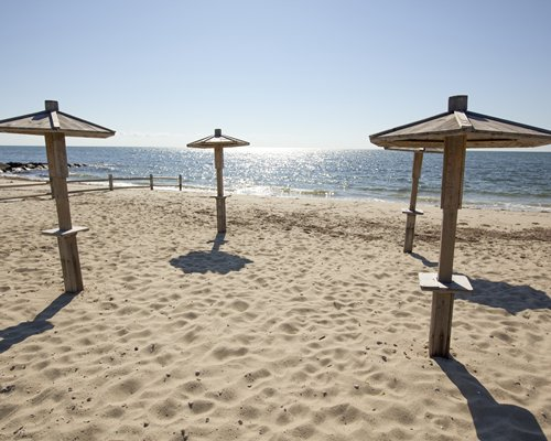 View of the beach with sunshades.