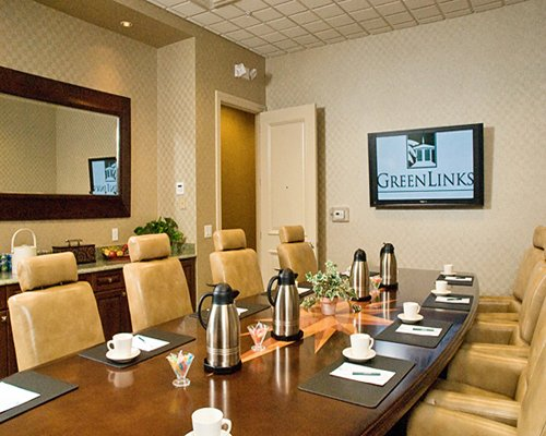 A well furnished indoor conference room.