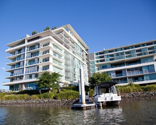 Exterior view of Ultiqa at Freshwater Point alongside the waterfront.