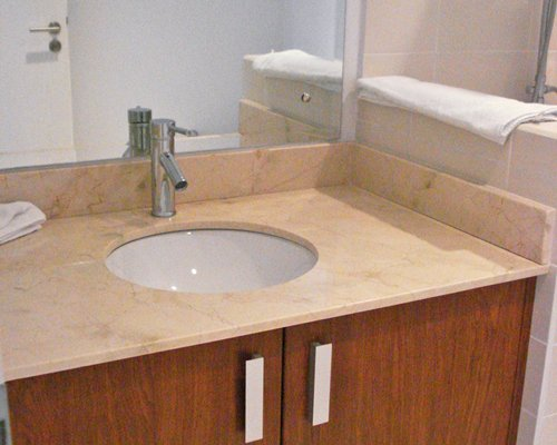 View of single sink vanity.
