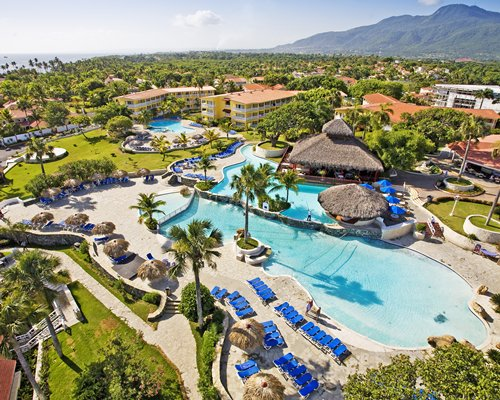 An aerial view of The Crown Suites at LHVC Resort with outdoor swimming pool.
