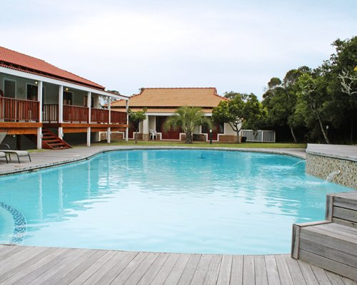 A scenic view of the resort's outdoor swimming pool.