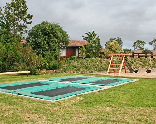 A view of an outdoor playscape.