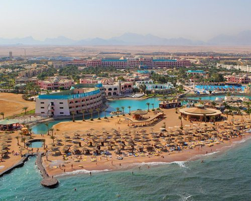 An aerial view of Golden Egypt Resort alongside the beach.