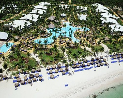 An aerial view of Club Melia at Melia Caribe Tropical resort alongside the beach.