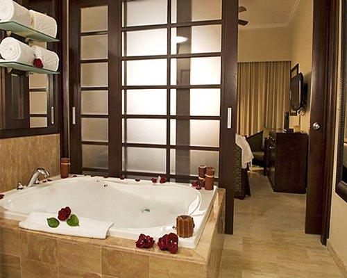 A bathtub alongside living area with a television.