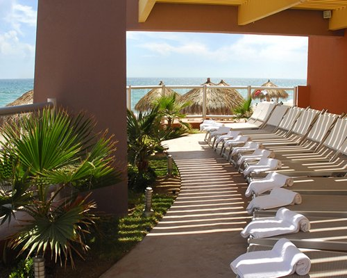 Pathway with chaise lounge chairs and landscaping alongside the ocean with thatched sunshades.
