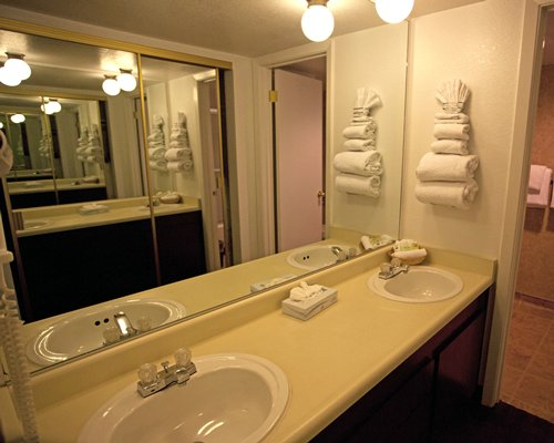View of double sink vanity.