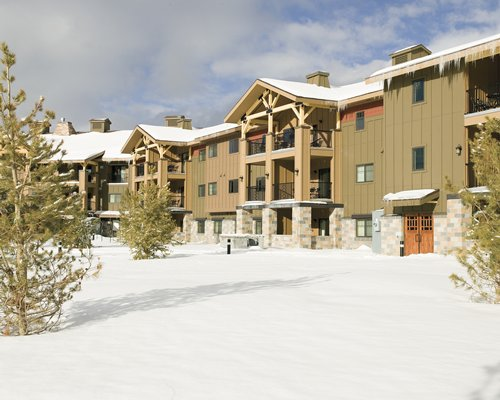 Exterior view of the resort covered in snow.