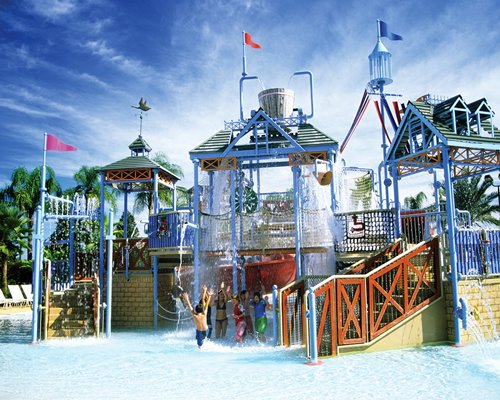 View of the water park with water features.