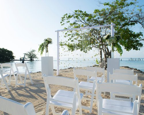 A beach wedding set up.