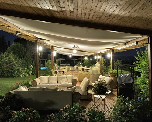 A view of an outdoor restaurant with lounge area.
