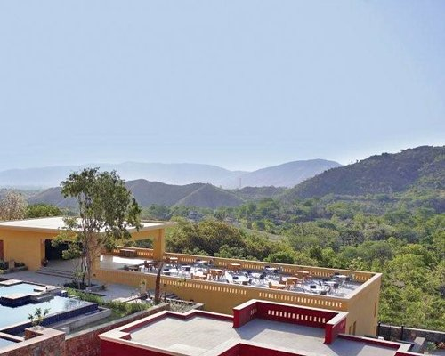 A view of the rooftop restaurant in the Club Mahindra Kumbhalgarh.