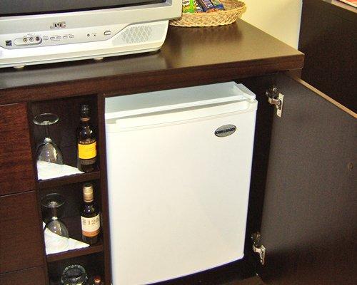A mini refrigerator.