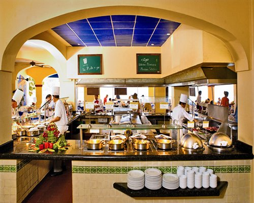 Interior view of the kitchen at a restaurant.