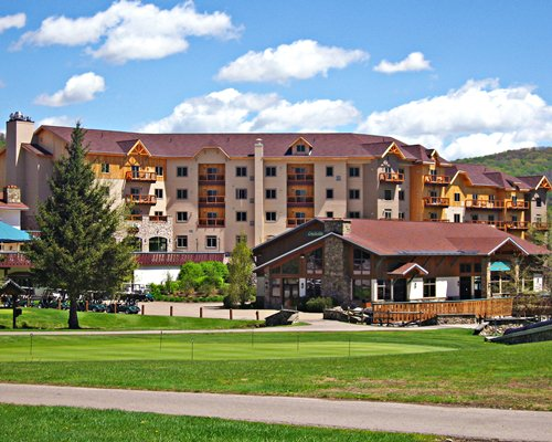 An exterior view of Tamarack Club resort.