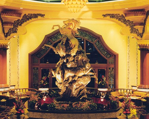 An indoor area with a statue.