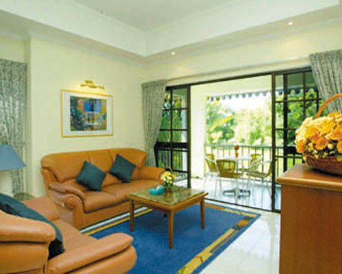 A well furnished living room with sofas and a balcony with patio.