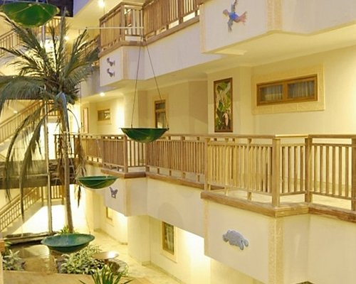 An interior view of multi story resort units.