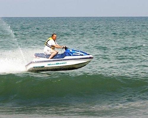 A man riding a jet ski.
