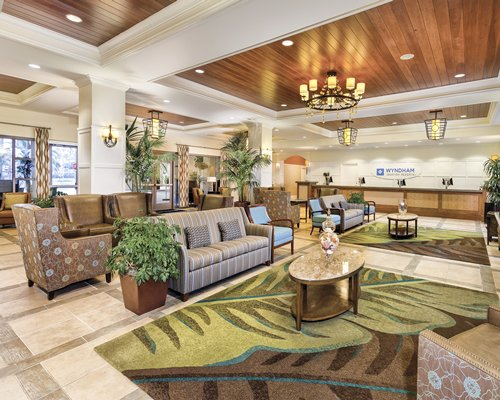Reception lobby of the Wyndham Oceanside Pier Resort.