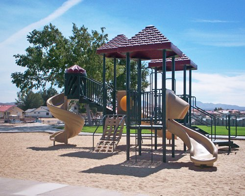 Kids playscape with a slide.