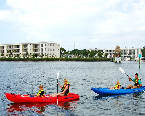 View of people kayaking outside of the resort.