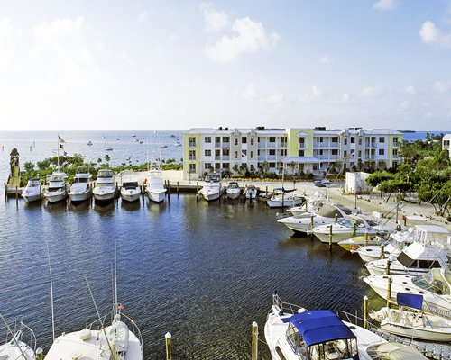 View of the beach with a marina.