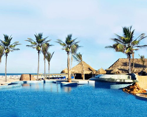 Outdoor swimming pool with thatched covered bar and palm trees alongside the beach.