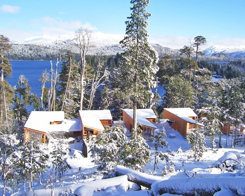 Exterior view of the Bahia Montana covered in snow.