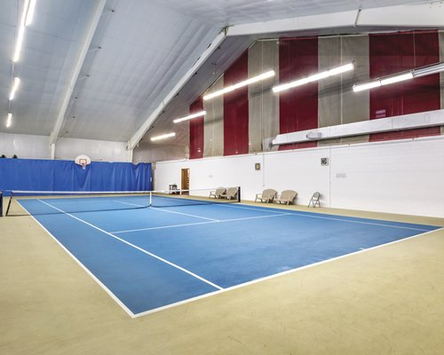An indoor tennis court.