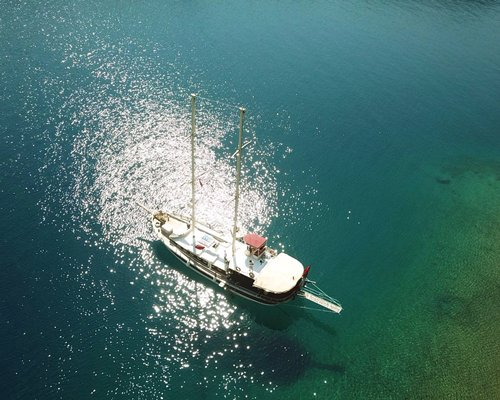 Interior view of a dining on a yacht.