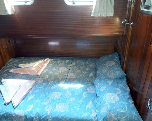 Interiors of the yacht with living and dining area.