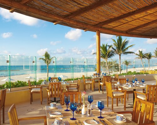 A fine dining restaurant with the beach view.