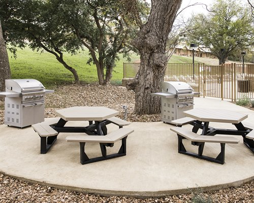 Scenic picnic area with barbecue grills.