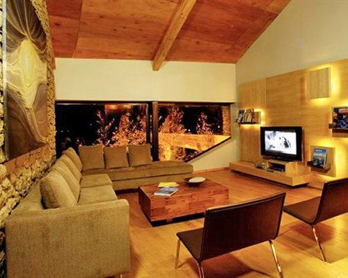 A well furnished living room with television.