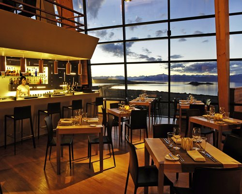 An indoor fine dining restaurant with the lake view.