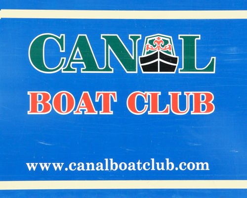 Signboard of Canalboat Club at Gayton Marina.