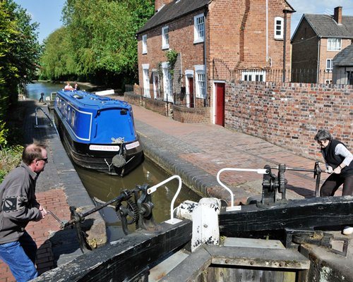 View of canal boat at Canalboat Club at Gayton Marina.