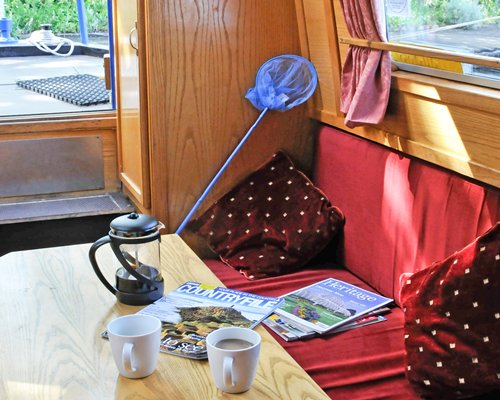 A furnished living room in the canal boat.