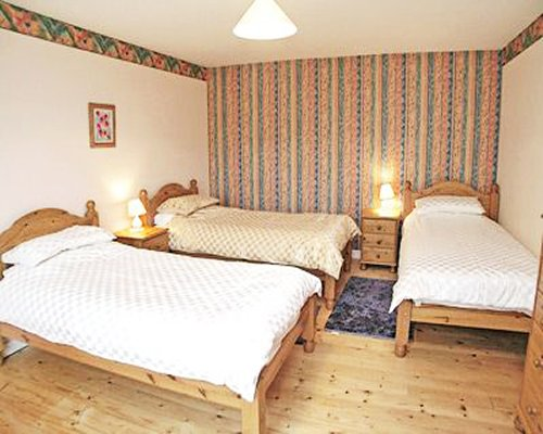A well furnished large bedroom with three beds.