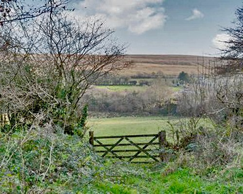 A view of open moorland alongside a small wooden gate.