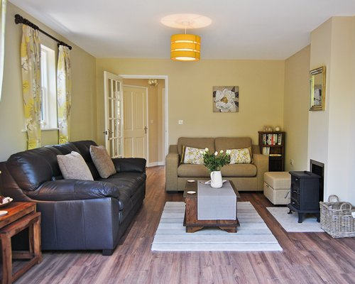 A well furnished living room with an outside view.