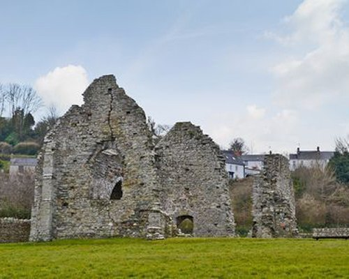 View of St Dogmaels Abbey ruins.
